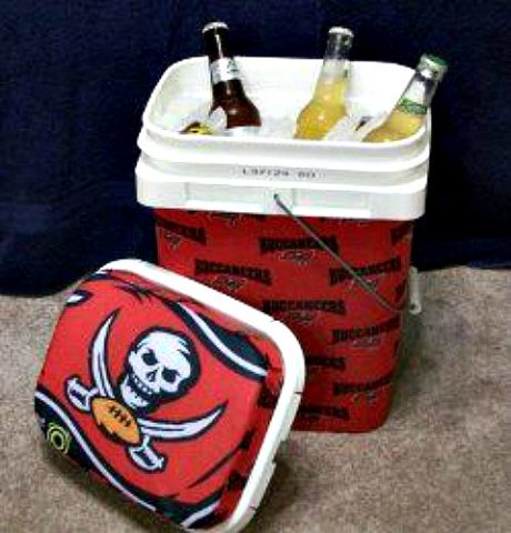 Tailgate Cooler from Kitty Litter Bucket: Tailgate cooler created by Madeline
