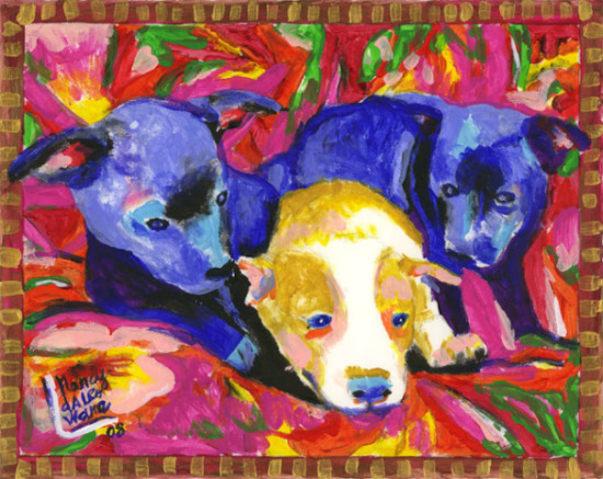 Three Pups by Daleo: Three little pigs are so overrated! Isn't this trio puppy painting adorable?