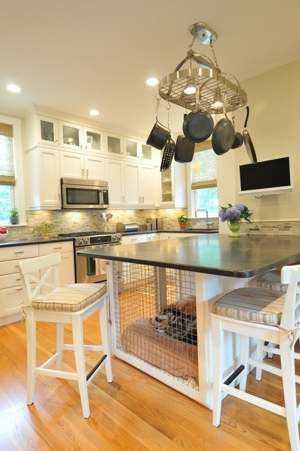 Built In Kitchen Counter Dog Kennel, Betsy Bassett Interiors