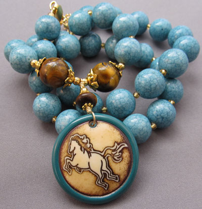 Turquoise/Tigerseye Equestrian Necklace: For Love Of A Dog