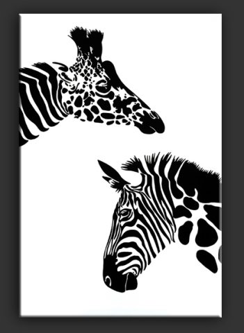 Wildwechsel by Elsner: Deer Pass, some animals trading wardrobes! Giraffe art and zebra art of Elsner