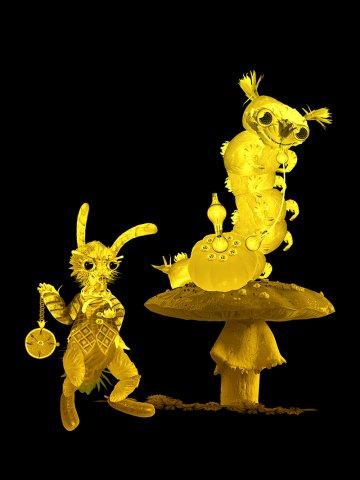 Wonderland by Kim: The rabbit and the caterpillar, animal art of Kim.