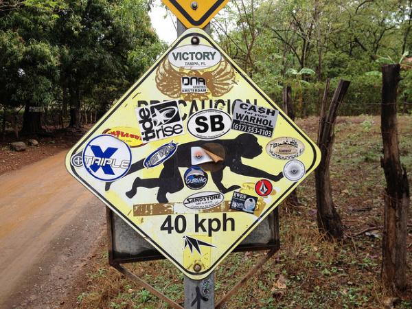 Weird Monkey Road Crossing Sign