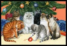 Cats Under the Christmas Tree Doormat