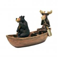 Moose and Bear in a Boat Statue