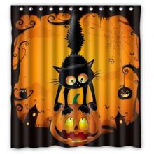 Scary Cat Halloween Shower Curtain