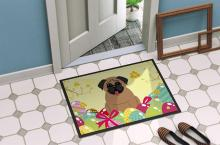 Pug with Easter Eggs Doormat