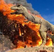Theme Park's T-Rex Goes Up In Flames