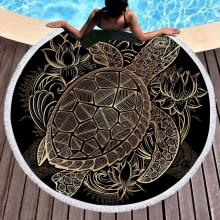 Round Sea Turtle Beach Towel