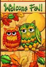 Owls Welcome Fall Garden Flag