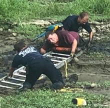 Parrot Rescuer Rescued From Muddy Drained Lake