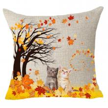 Autumn Kittens Throw Pillow Cover