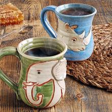 Elephant and Rhino Mugs