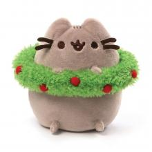 Pusheen with Christmas Wreath