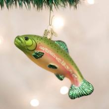 Glass Rainbow Trout Christmas Ornament