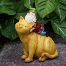 Cat and Gnome Garden Statue