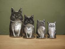 Family of Cats Pewter Measuring Spoons