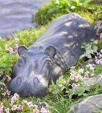Swimming Hippo Garden Sculpture