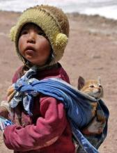 Indigenous Child and Kitten