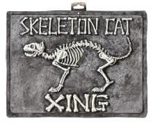 Skeleton Cat Crossing Sign