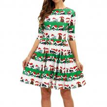 Christmas Cat and Dog Midi Dress