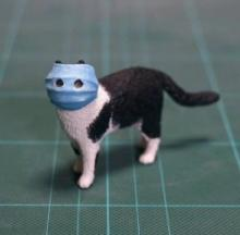 Masked Coronavirus Cat Meme-morialized As A 3D Resin Figurine