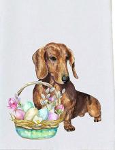 Easter Dachshund Tea Towel