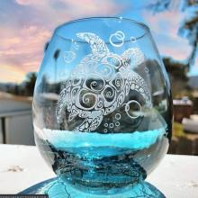 Sea Turtle Stemless Wine Glass