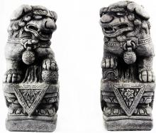 Concrete Foo Dog Pair