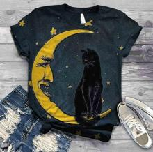 Vintage Moon and Black Cat T-Shirt