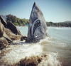 Graffiti Artist Jimmy Swift Transforms Rock Into Jaws-Like Shark